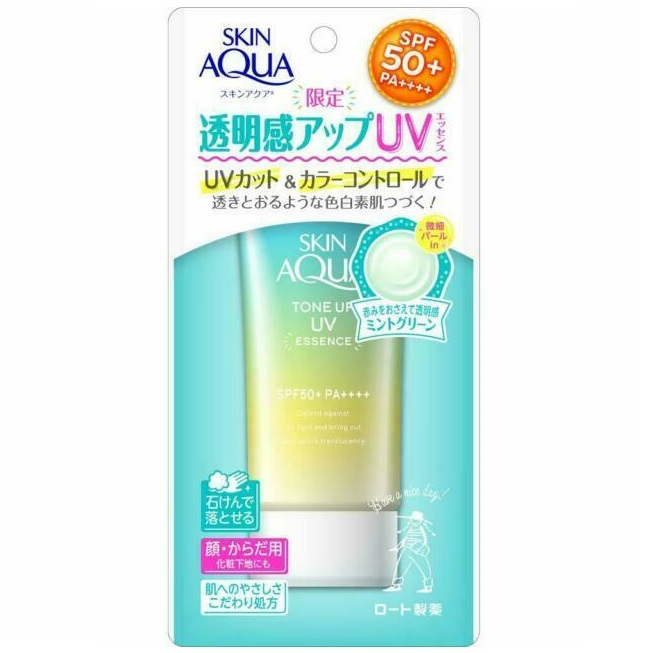 ROHTO Skin Aqua Tone Up UV Essence<br /> Mint Green SPF50+ PA++++
