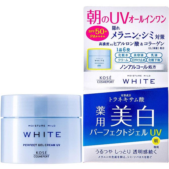 Гель-крем осветляющий защитный <br />KOSE Moisture Mild White Perfect Gel UV SPF50+ PA++++