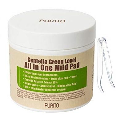 Пилинг-диски с центеллой и кислотами <br />PURITO Centella Green Level All In One Mild Pad